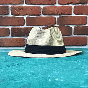 Шляпа Федора с широкими полями Канотье City-a Бежевая с черной лентой, фото 2