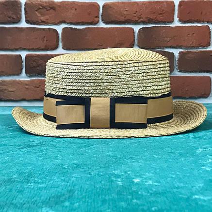 Канотье соломенная шляпа City-a Бежевая с черной-золотой широкой лентой, фото 2