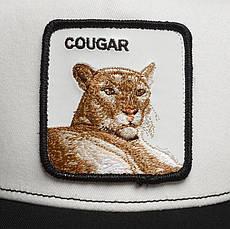 Кепка Бейсболка Тракер с сеткой Goorin Brothers Animal Farm Coguar с Ягуаром Черно-Белая, фото 3