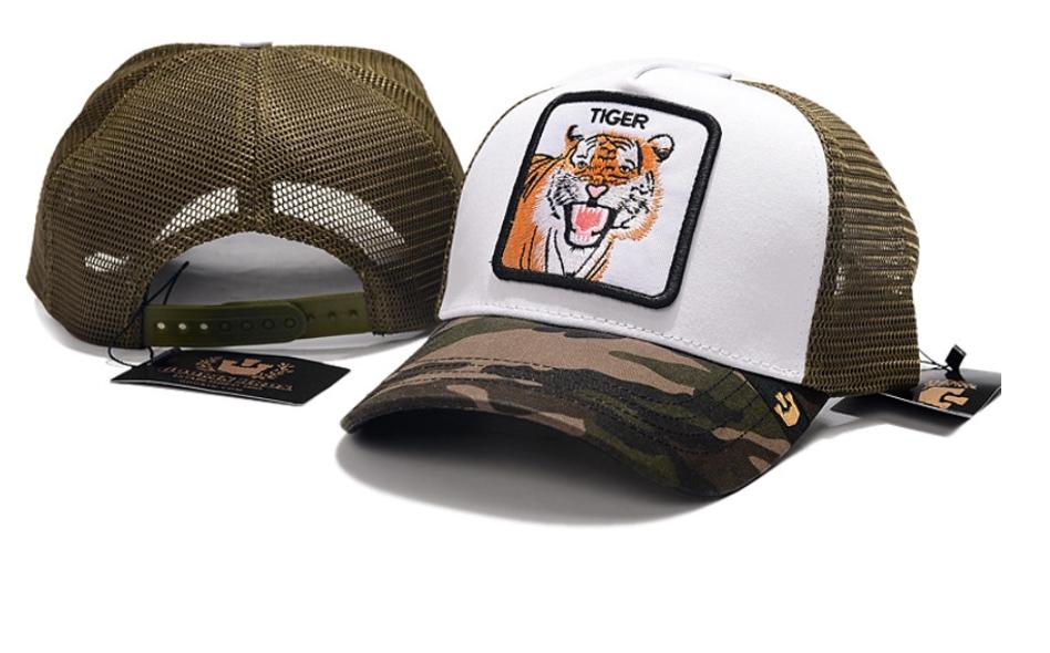 Кепка Бейсболка Тракер с сеткой Goorin Brothers Animal Farm Tiger с Тигром Камуфляж Хаки