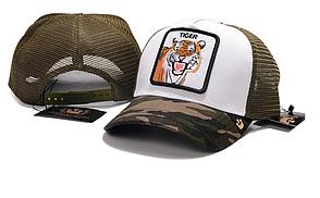 Кепка Бейсболка Тракер з сіткою Goorin Brothers Animal Farm Tiger з Тигром Камуфляж Хакі