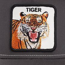 Кепка Бейсболка Тракер с сеткой Goorin Brothers Animal Farm Tiger с Тигром Серая, фото 3
