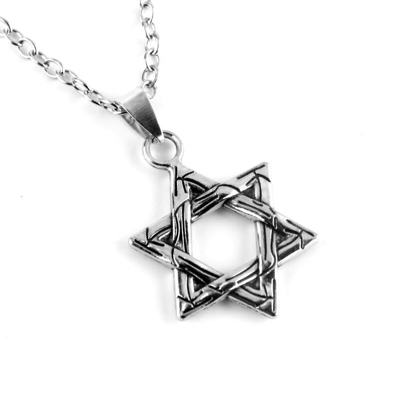 Шестиконечная Звезда Давида с цепочкой City-A Ювилирный сплав в полоску Цвет Серебряная