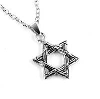 Шестиконечная Звезда Давида с цепочкой City-A Ювелирный сплав в полоску Цвет Серебряная