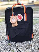 Городской Рюкзак Fjallraven Kanken Classic Rainbow Радужный 16 л Канкен Черный ручка в радугу