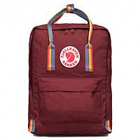 Городской Рюкзак Fjallraven Kanken Classic Rainbow Радужный 16 л Канкен Бордовый ручка в радугу
