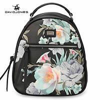 Модный рюкзак женский городской. Рюкзак для девочки с цветами DAVID JONES (черный)
