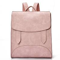 Модный рюкзак женский городской. Рюкзак для девочки с хлястиками (розовый)