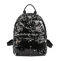 Модный рюкзак женский городской пайетки. Рюкзак с пайетками двусторонними. Рюкзак для девочки Черный