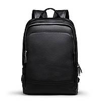 Кожаный рюкзак мужской городской LIELANG. Мужской рюкзак для ноутбука из натуральной кожи Черный