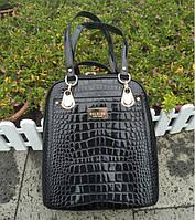 Модный рюкзак женский городской. Женская сумка рюкзак трансформер лаковая под рептилию (черная)