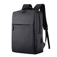 Рюкзак городской мужской с USB портом. Мужской рюкзак для ноутбука Черный