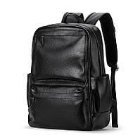Кожаный рюкзак мужской городской LIELANG. Мужской рюкзак для ноутбука Черный