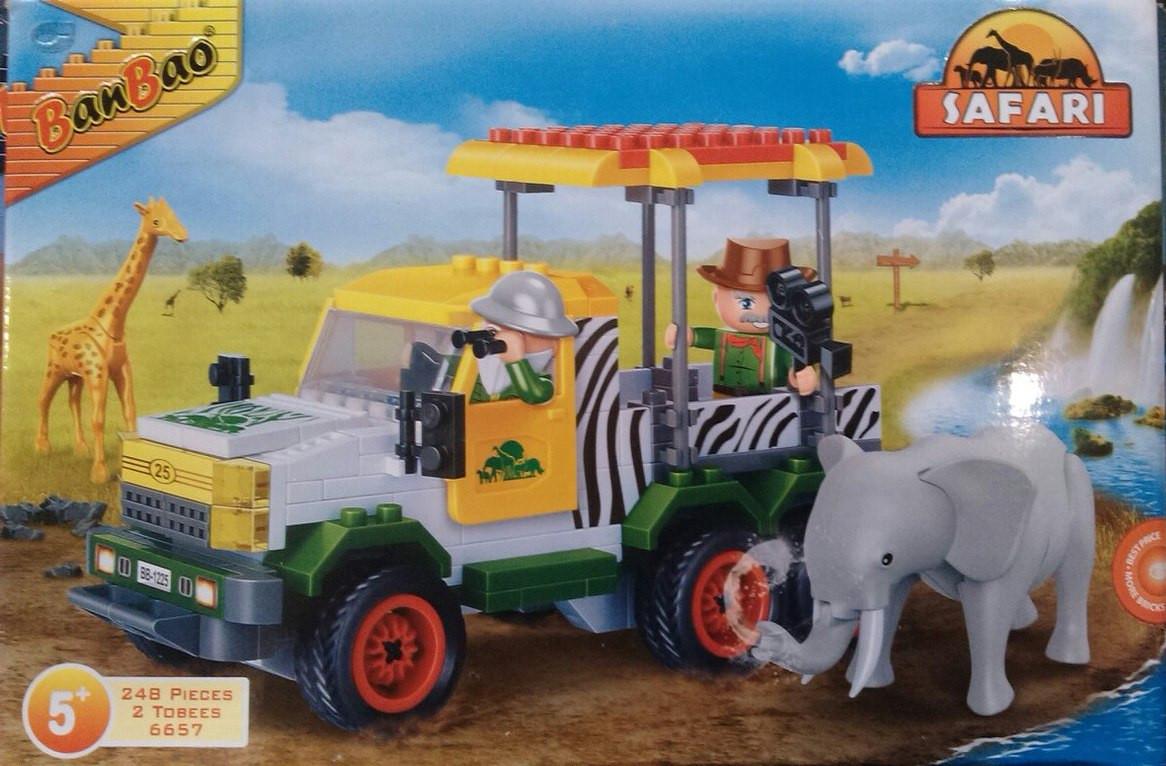 """Конструктор BANBAO """"Сафари"""": машинка, фигурки, животные, 248 дет., 6657"""