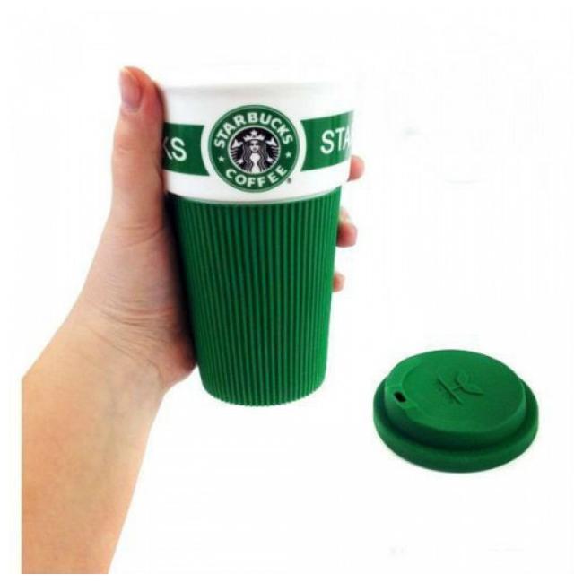 Термокружка Starbucks 350 мл керамическая с резиновым чехлом зеленая 9703