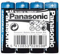 Батарейка Panasonic GENERAL PURPOSE R6 TRAY 4 ZINK-CARBON, R6BER/4P