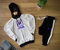 Спортивный костюм мужской FILA (Фила) черно-белый осенний | весенний демисезонный трикотажный Худи + Штаны