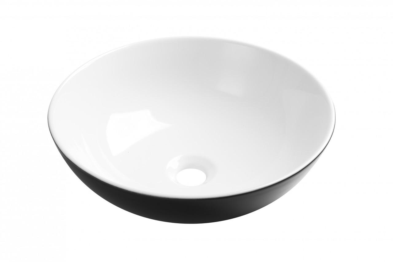 Раковина Invena Dokos CE-19-041 накладна керамічна, чорна-біла