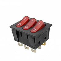 Кнопка тройная на девять контактов с подсветкой красная GAV 164