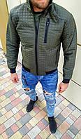 Мужской бомбер стеганый цвета хаки. Демисезонная мужская куртка (курточка) цвет хаки.