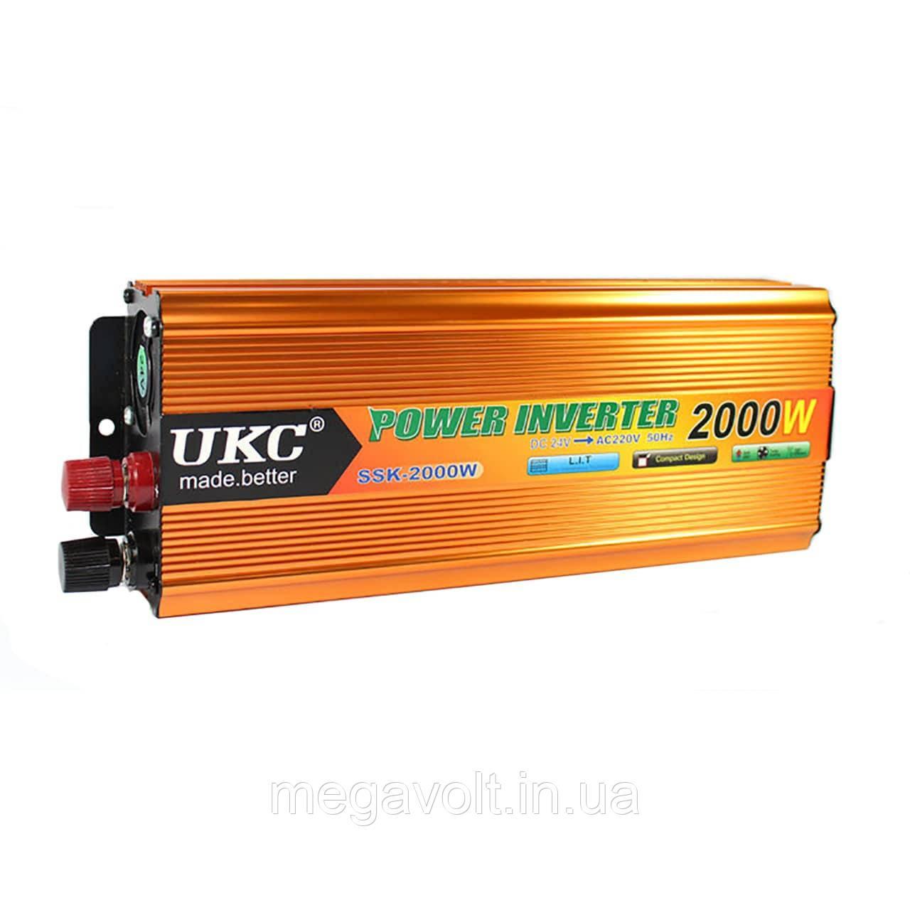 Преобразователь напряжения (автоинвертор) 24v-220v 2000W UKC