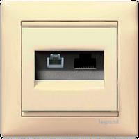 Розетка информационная 2-ная RJ 45 (6e UTP+RJ11) Valena 774180 слоновая кость