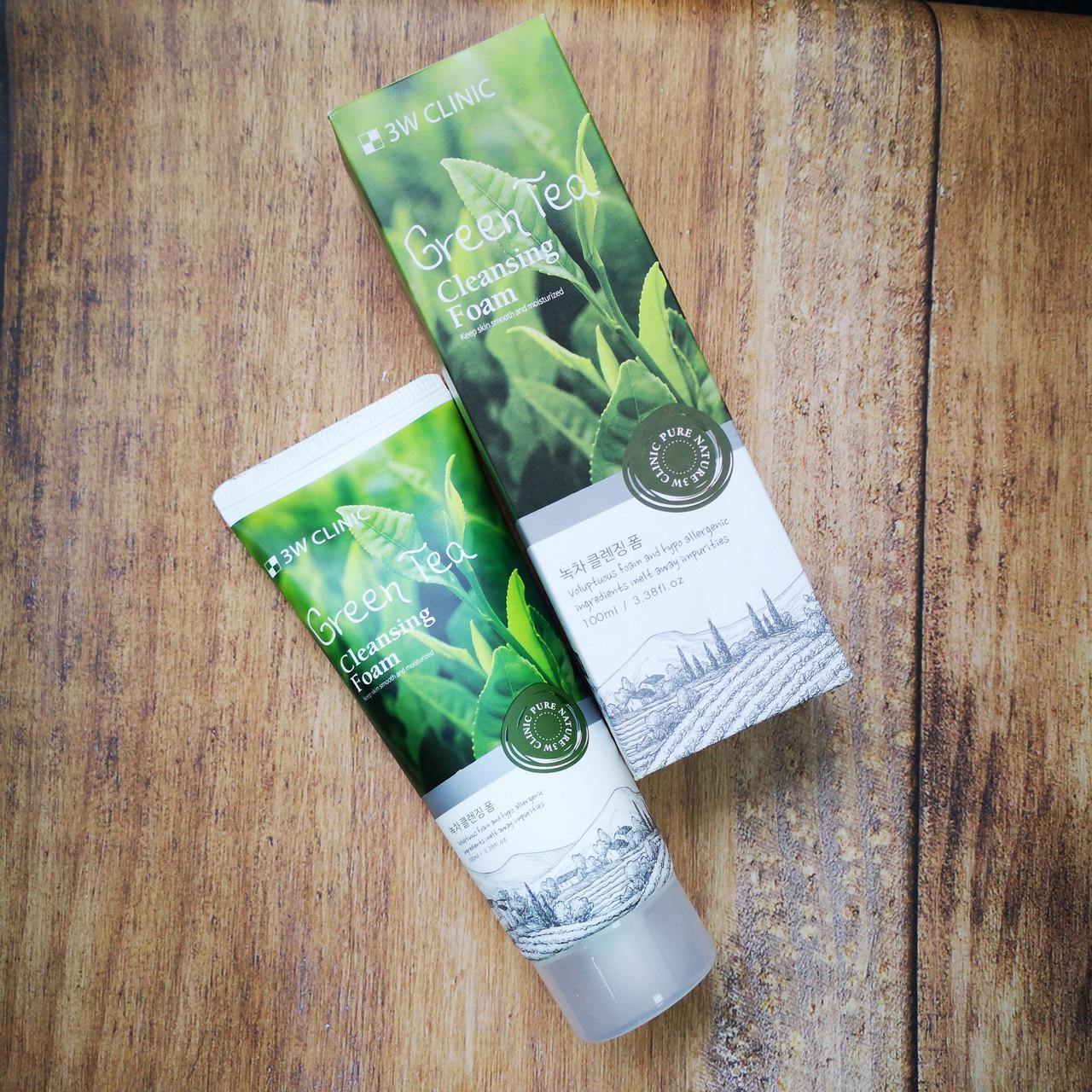 Пенка для умывания 3W Clinic с экстрактом зеленого чая Cleansing Foam Green Tea