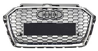 Решетка радиатора Audi A3 8V рестайлинг (16-20) стиль RS3 (хром рамка)
