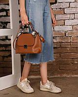 Женская коричневая рыжая сумка через плечо 62102 маленькая молодежная с платком, фото 1