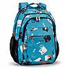 Рюкзак ортопедический школьный для девочки с принтом Котики Dolly 538 голубой, фото 4
