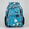Рюкзак ортопедический школьный для девочки с принтом Котики Dolly 538 голубой, фото 5