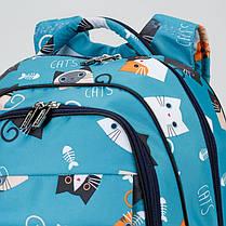 Рюкзак ортопедический школьный для девочки с принтом Котики Dolly 538 голубой, фото 2