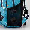 Рюкзак ортопедический школьный для девочки с принтом Котики Dolly 538 голубой, фото 3
