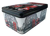 """Контейнер прямоугольний з кришкою 2,1 л (140x220x90 мм) Лондон Автобус """"Elif"""""""