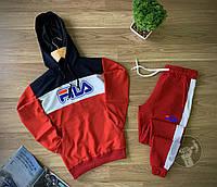 Спортивный костюм мужской Fia красный осенний весенний демисезонный | Худи + Штаны Фила ТОП качества