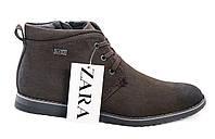 Мужские зимние ботинки Zara темно - коричневые