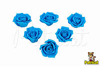 Роза темно-голубая из фоамирана (латекса) 4,5 см 10 шт/уп