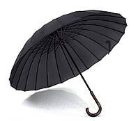 Зонт-трость, черный,с деревянной ручкой. 24 спицы