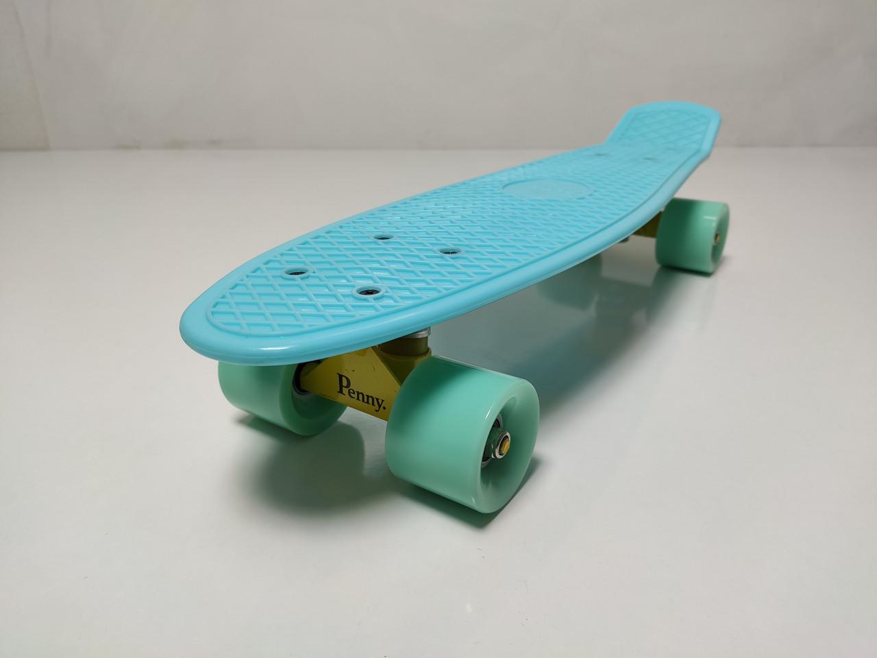 Пенні Борд Penny Board 22Д  Бірюзовий колір Матові колеса