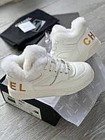 Теплі жіночі черевики Шанель білі (репліка), фото 1