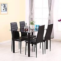Набор стеклянный обеденный стол Panana и 4 мягких кресел Черный РАСПРОДАЖА