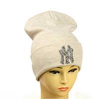 """Молодіжна шапка з декором """"NewYork"""" бежевий"""