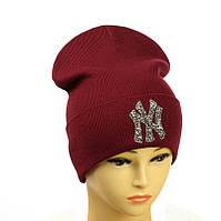 """Молодіжна шапка з декором """"NewYork"""" бордовий"""