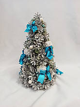 Ёлка новогодняя декоративная из натуральных  серебристых шишек 25х50 см