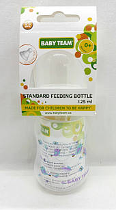 Бутылочка для кормления 125 мл с талией и силиконовой соской, 0+/ Baby team, ар 1111