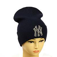 """Молодіжна шапка з декором """"NewYork"""" темно-синій"""