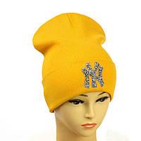 """Молодіжна шапка з декором """"NewYork"""" гірчичний"""