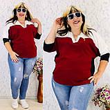 Женская блуза легкая блузка свободного фасона V образный вырез размер: 50, 52, 54, 56-58, фото 5