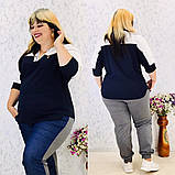 Женская блуза легкая блузка свободного фасона V образный вырез размер: 50, 52, 54, 56-58, фото 6