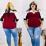 Женская блуза легкая блузка свободного фасона V образный вырез размер: 50, 52, 54, 56-58, фото 7
